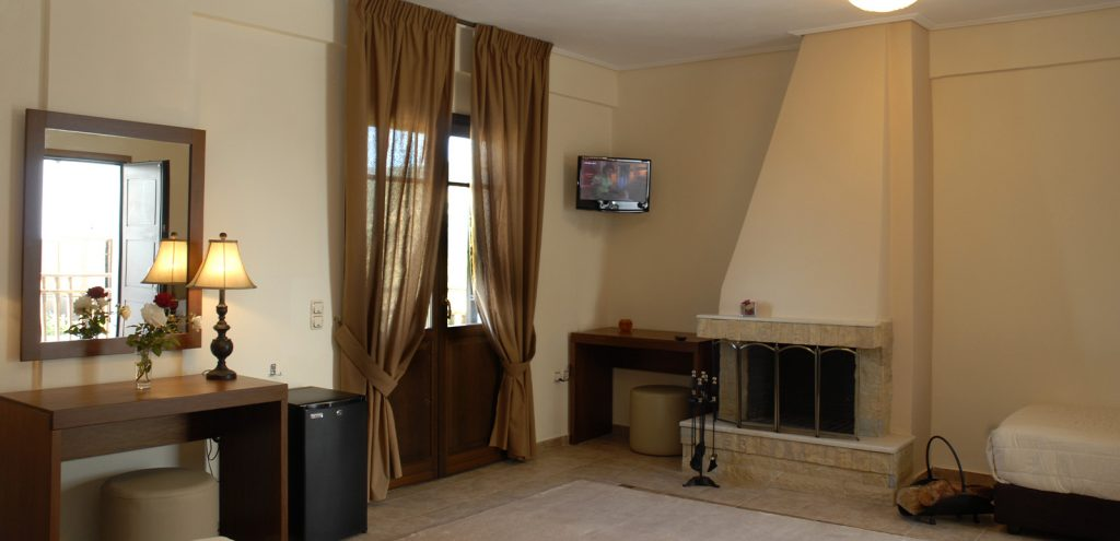 Pelion Resort room with fireplace